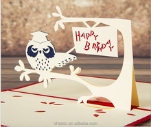 happy birthday cards 3d laser greeting owl theme