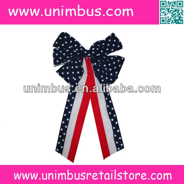 american flag velvet christmas decorative bow with gold wired