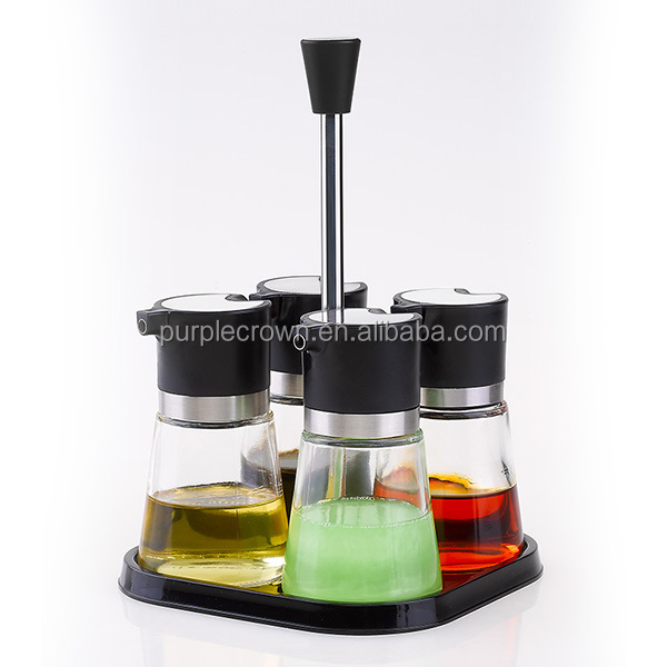 herb & spice tools 4pcs and 1 rack group glass cooking oil & vinegar bottle combination and collection sets