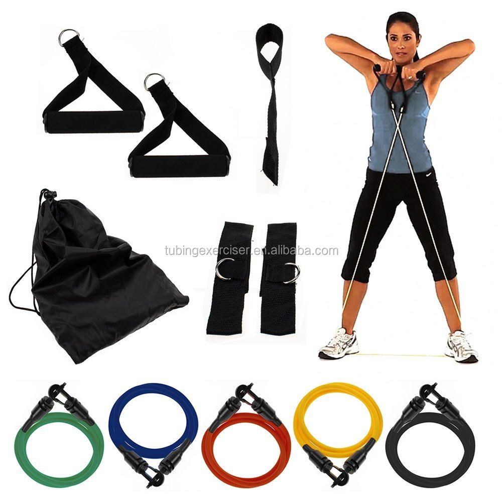 Manufacturer High Quality 11 PCS Resistance Band Set With Foam Handles For Yoga Pilates EXERCISE Tube Workout Fitness