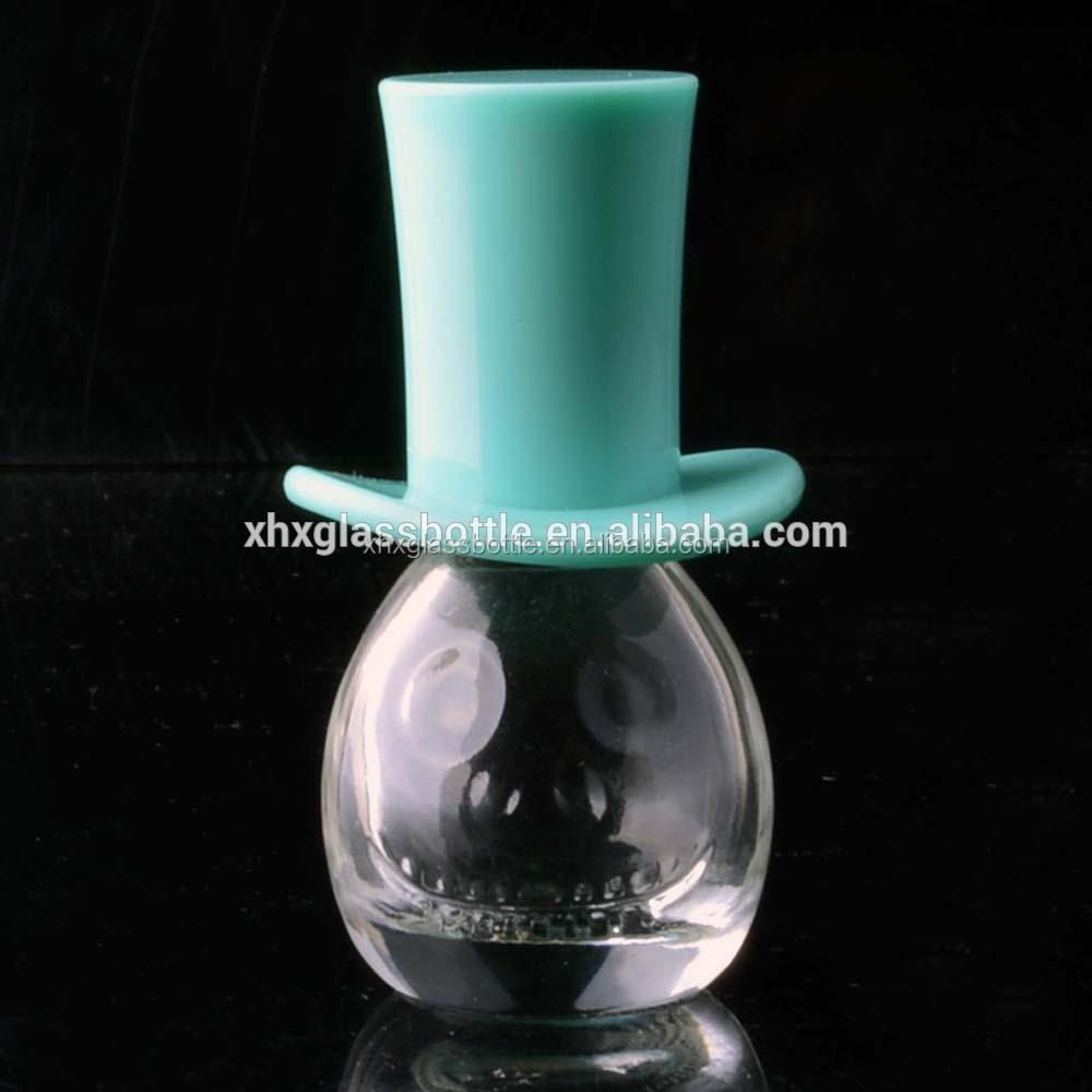 6Ml Nail Polish Bottle Cute Unique Design 5Ml Skull Face Nail Polish Glass Bottle With Hat Cap For Halloween