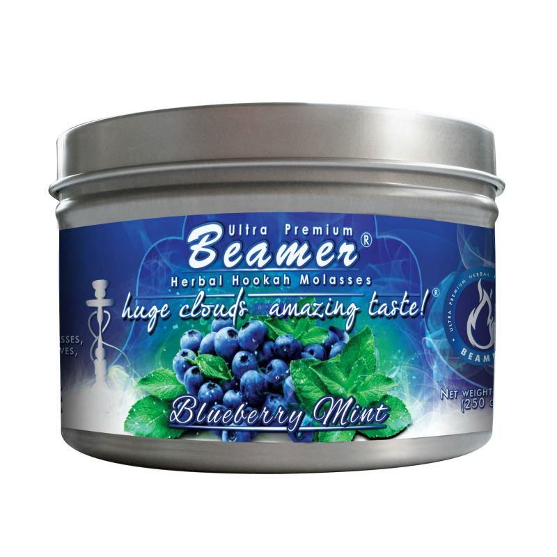 Blueberry Mint 100 Gram Tin Beamer Ulra Premium Herbal Hookah Molasses. Made in the USA. 40 + flavors