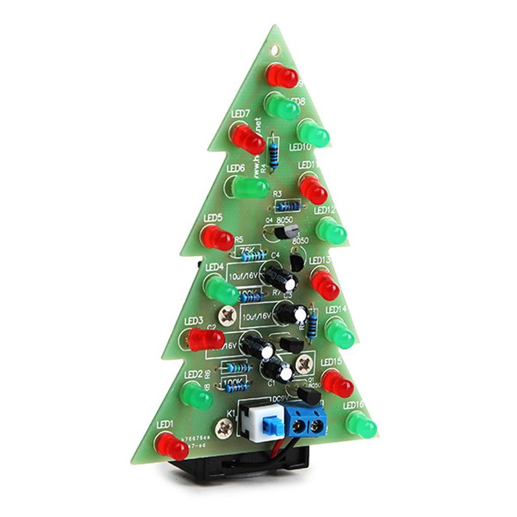 Blinking Led Ckt Diagram Cheap Flashing Circuit Find Get Quotations Daoki Christmas Tree Light Diy Kit Red Green Flash