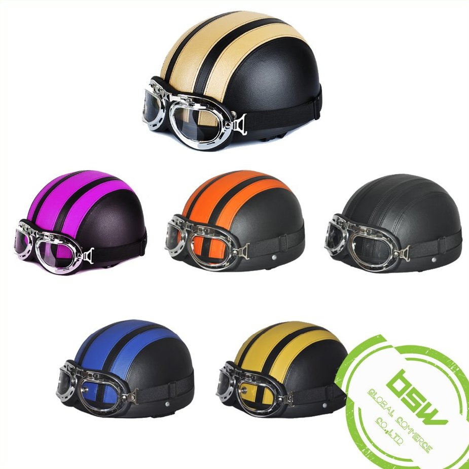 Leather Open Face Bike Scooter Motorcycle Harley Half Helmet With Goggles Glasses For Men Women