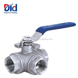 Stainless Steel L T Port Female Threaded 3 Way Manual Operated Ball Valves