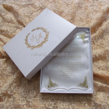 Clear Acrylic Cut Wedding Invitations For Elegant Favors Box