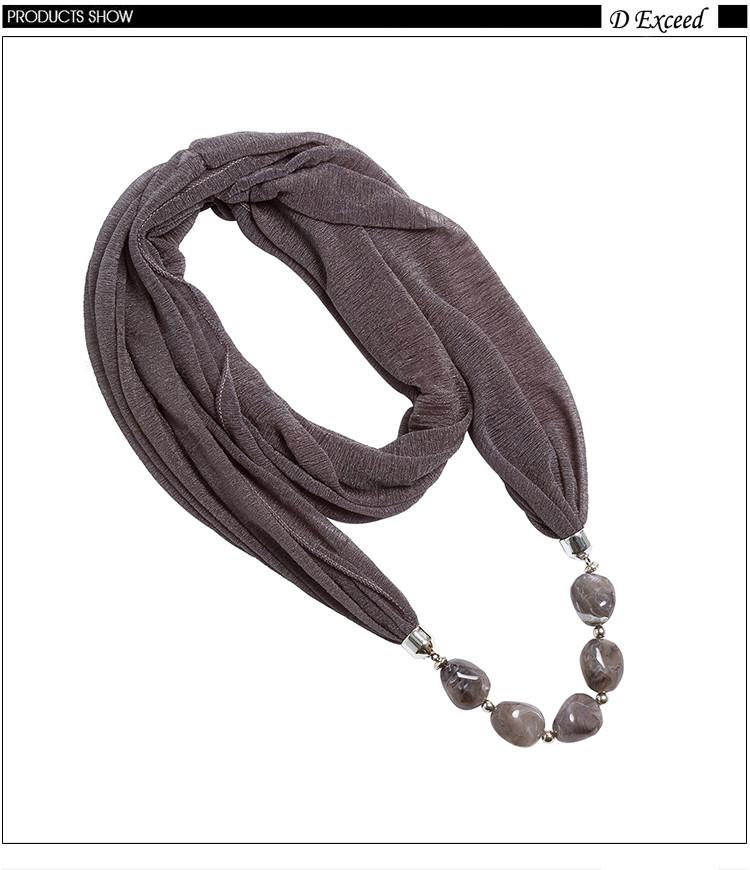 המון טהור צבע, ססגוניות, פוליאסטר חמימות בחורף עם 5 צבע טהור כהה תבואה חרוזים נשים צעיף שרשרת (WJ0092A-K)