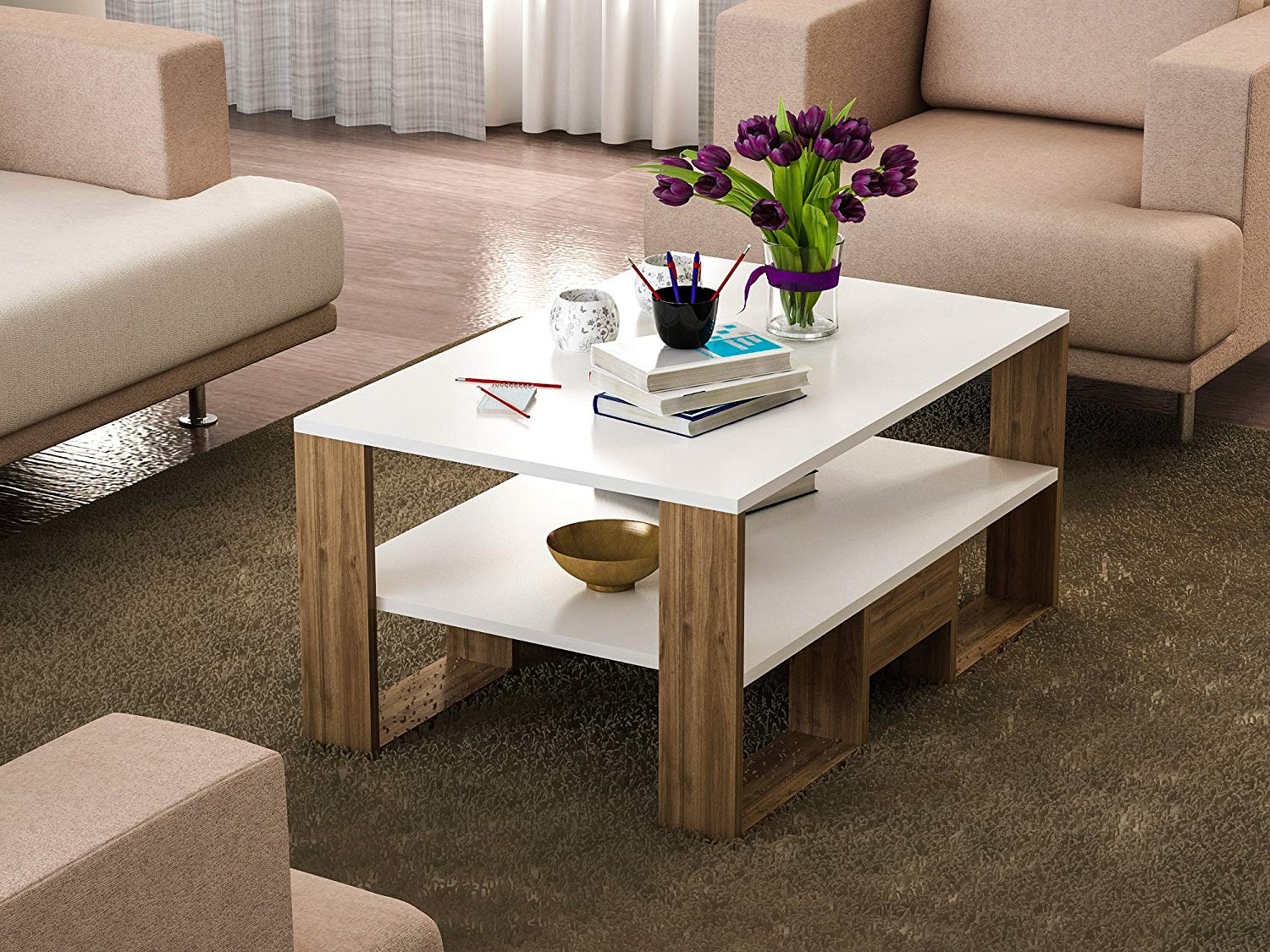 LaModaHome Modern Style Coffee Table - Brown-White Modern Coffee Table Wooden Resistant Table - Cocktail Table with Storage - Best Choice For Quality - For Home, Office, Living Room and More