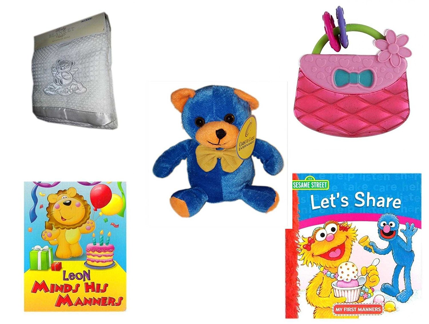 """Children's Gift Bundle - Ages 0-2 [5 Piece] - Soft White """"Bless This Child"""" Baby Blanket - Bright Starts Pretty in Pink Carry Teethe Purse - Blue & Orange Bear 7"""" - Leon Minds His Manners Board Book"""