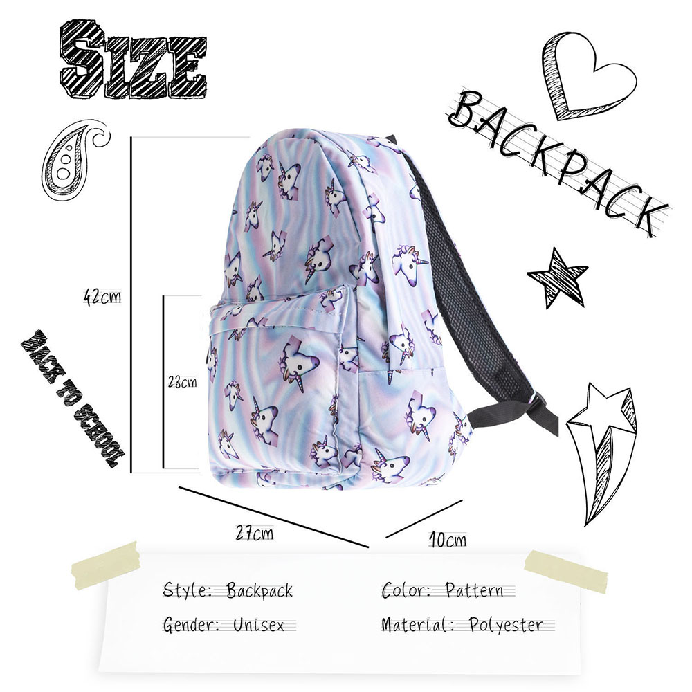 Unicorn 3D Printing Fashion Casual Oxford Waterproof School Backpack Bag For Teenagers