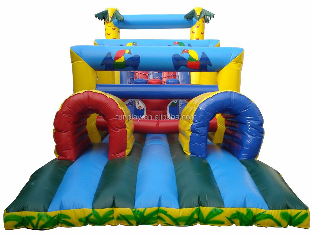 HI Colorful Inflatable Sports Games Tunnel Fun Inflatables Obstacle Course Games For Kids