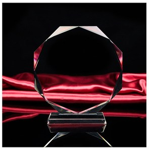 Octagonal etched clear k9 crystal plaque blank glass award trophy for engraving