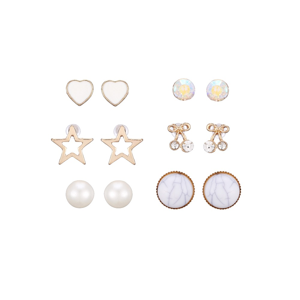 Women Fashion Jewelry Cute Gold Plated Dimante Cherry Fruit Enamel Heart Cutout Star Pearl Stud Earring Combo Multipack