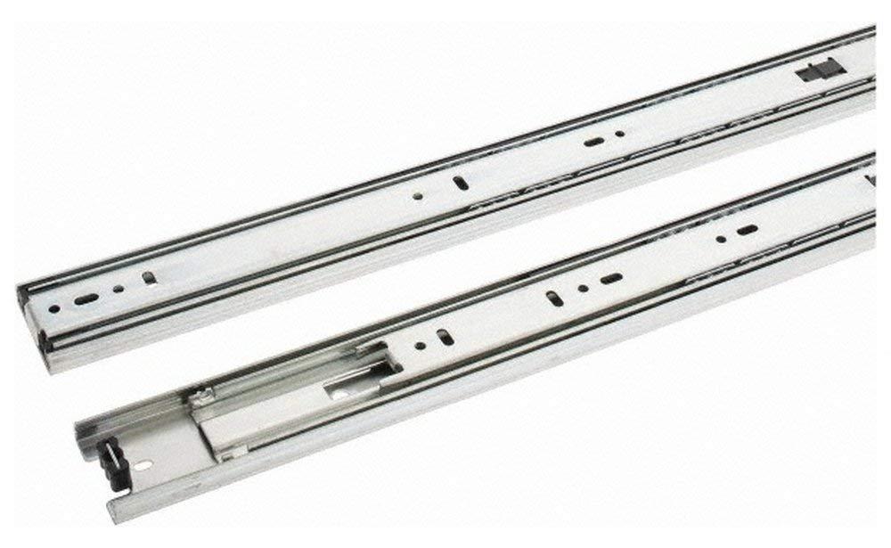 "24"" Slide Length, 24"" Travel Length, Steel Precision Drawer Slide, 1/2"" Wide, 1-13/16"" High, 100 Lb Capacity at Full Extension, Chrome Finish (2 Piece Set)"
