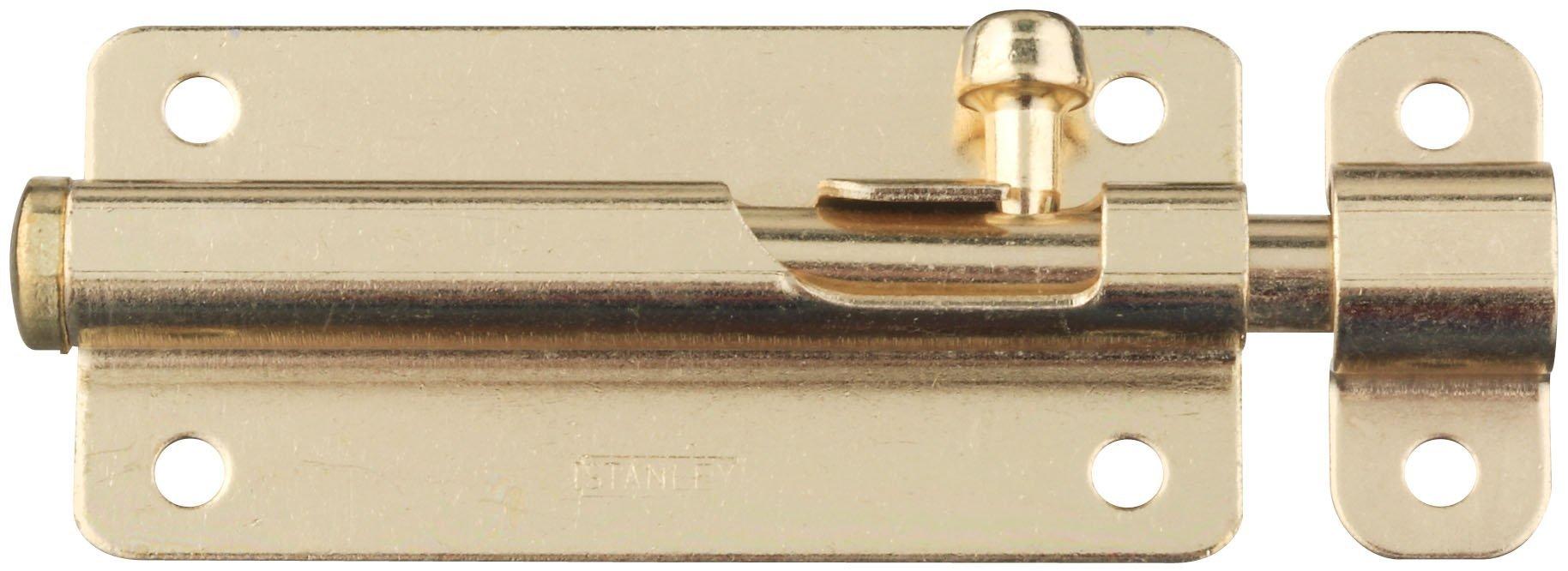 Stanley Hardware S756-400 CD2003 Spring-Lock Barrel Bolt in Bright Brass
