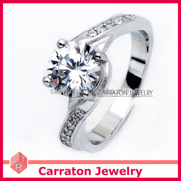 popular design 925 pure silver rhodium plated twist solitaire cubic zirconia diamond ring