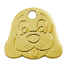 Zinc alloy gold palted smooth dog pet shaped engraved face tags charms jewelry