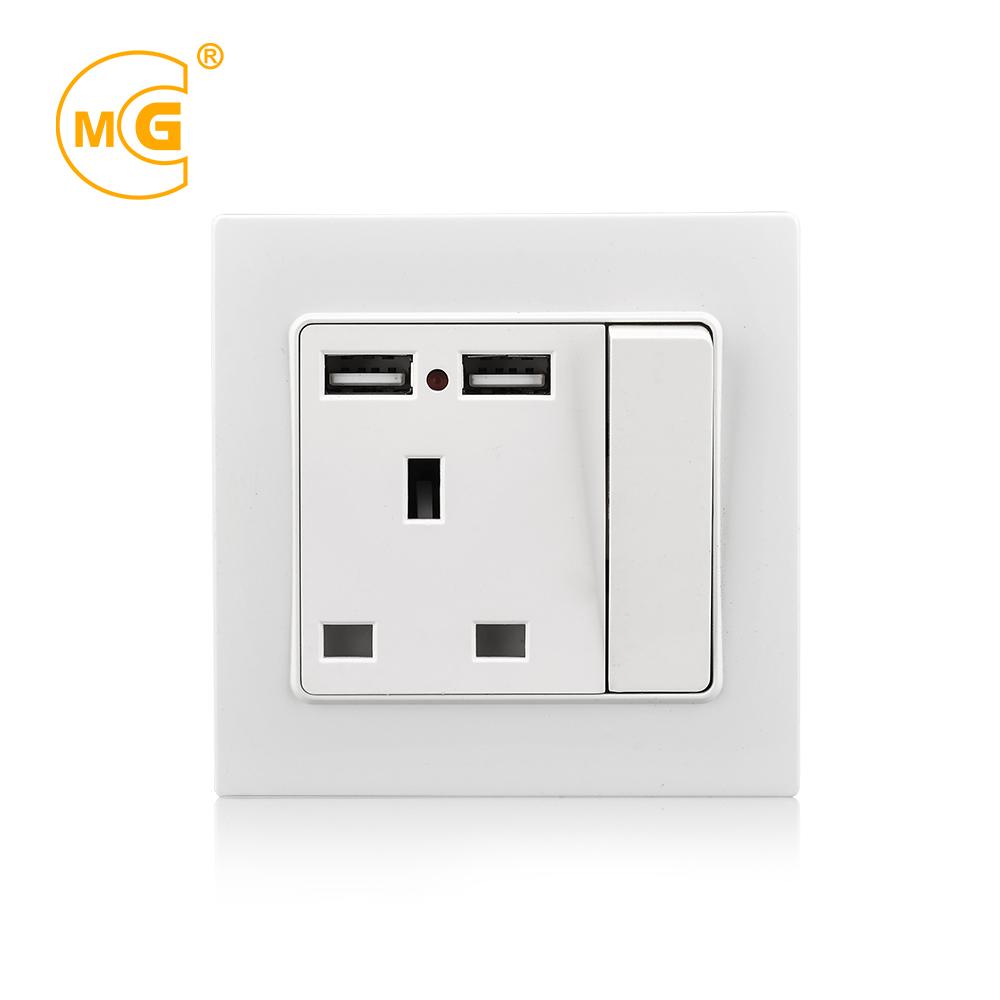 UK plug 13A socket dual usb pc light switch