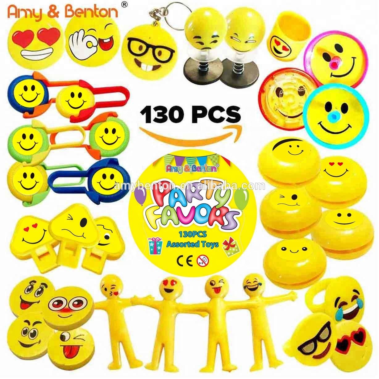 Amazon Hot Selling 130pcs Bulk Toy Emoji Party Supplies Favors For Birthday Goody Bags