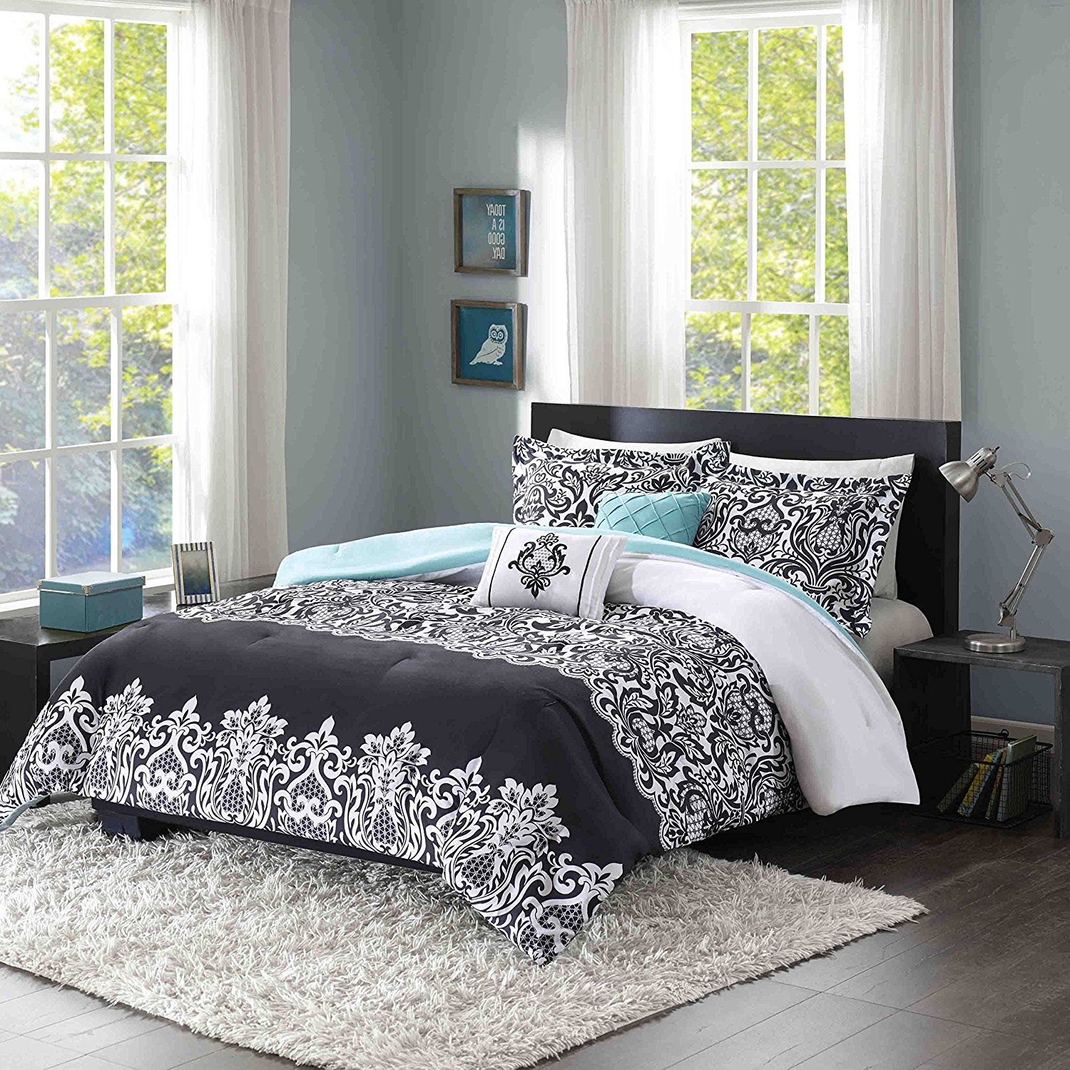 LO 5 Piece Girls Black White Damask Jeweled Comforter Set Full Queen, Dark Black Geometric Printed Floral Adult Bedding Master Bedroom Reversible Solid Color Casual Modern, Polyester