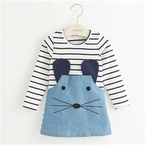 UNIKIDS New Winter 2016 Striped Patchwork Girl Dresses Long Sleeve Cute Mouse Children Clothing Denim Kids Clothes 3-8 yrs