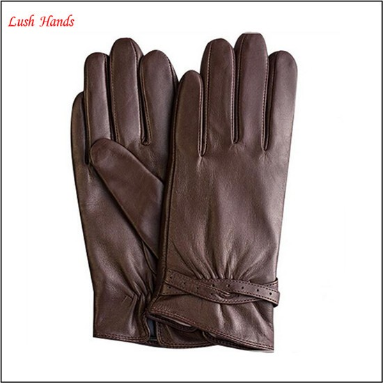 ladies brown leather glove from leather glove manufacture