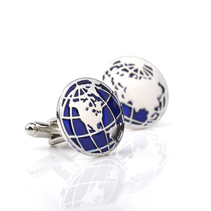 Fashion Jewelry Earth Cufflinks Blue Globe Planet Earth World Map Cuff Links Christmas Gift For Men