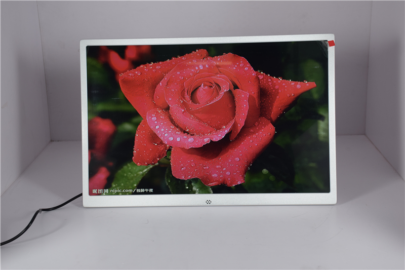 wall hanging 15.4 inch brushed metal digital photo frame aluminum