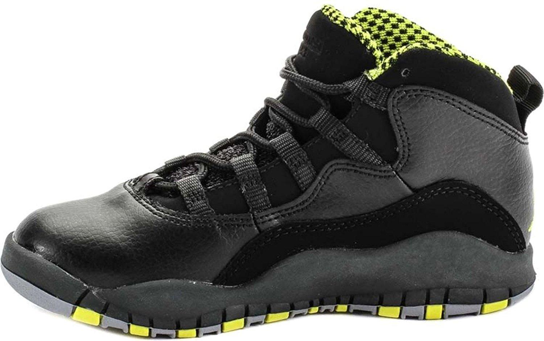 Get Quotations · Air Jordan 10 Retro Venom Green BP Little Kids Black Grey Green  310807-033 3f70fd8b3