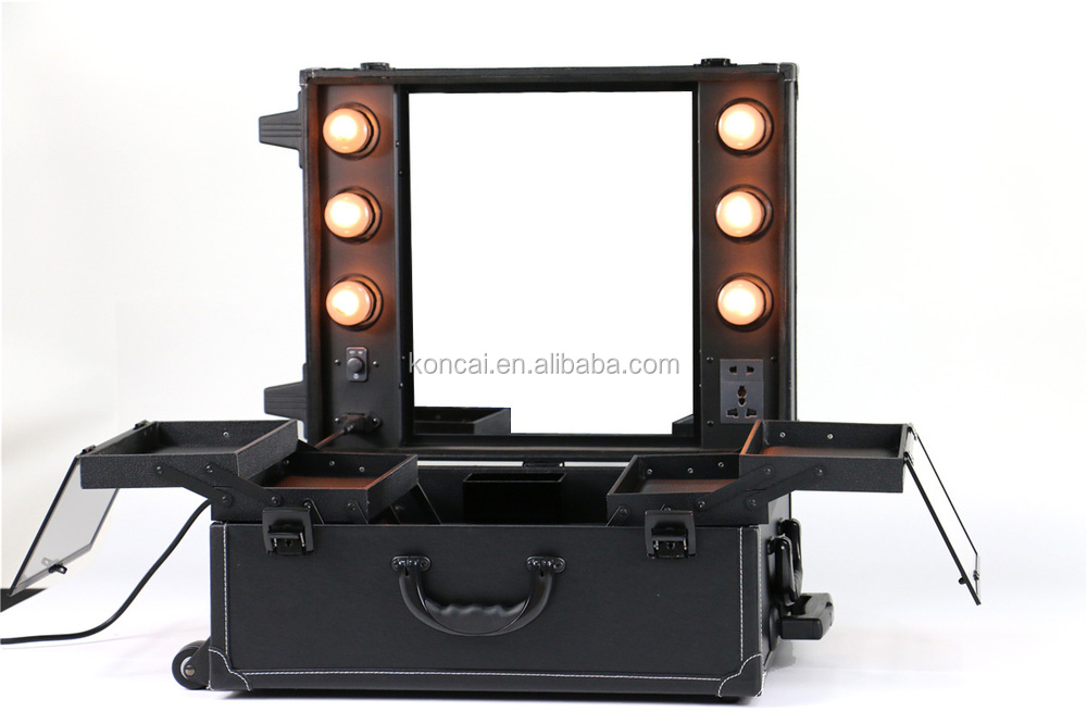 professional makeup mirror and light box led trolley