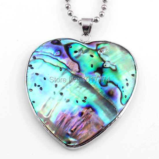 Charm Heart-shape Natural Abalone Shell Splicing Pendant Accessories Silver Plated European Trendy Jewelry Amulet 10Pcs