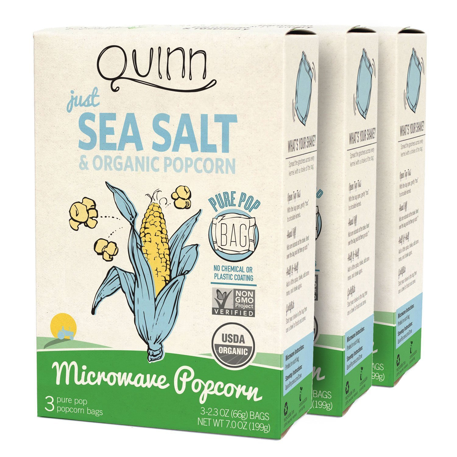 Quinn Snacks Microwave Popcorn - Made with Organic Non-GMO Corn - Great Snack Food for Movie Night {Just Sea Salt, 3 Boxes}