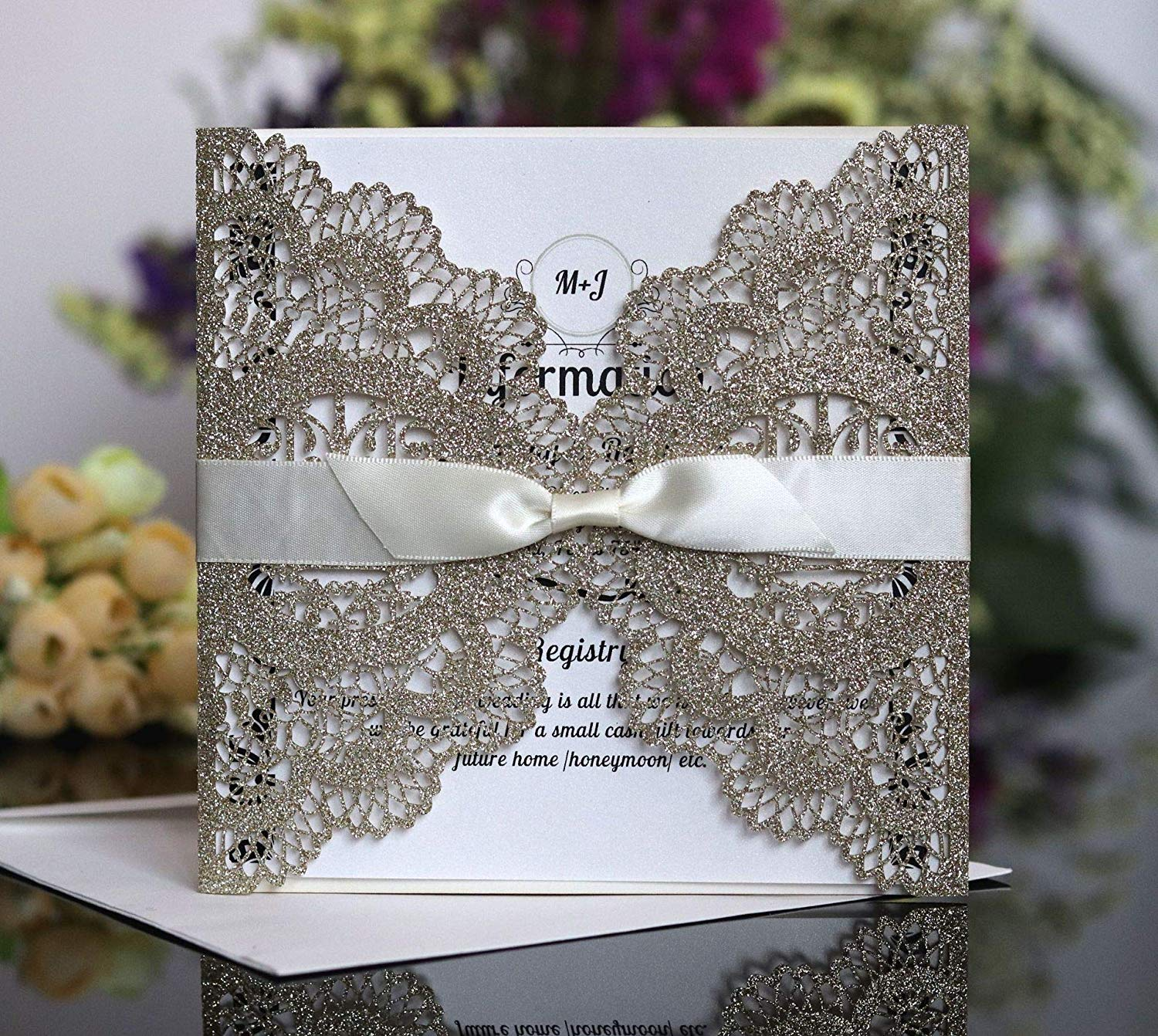 Get Quotations · Noble Golden Openwork Wedding Invitations Birthday Party With Ribbon Envelope Friend Class Reuion: Black Tie Wedding Invitation Box At Websimilar.org