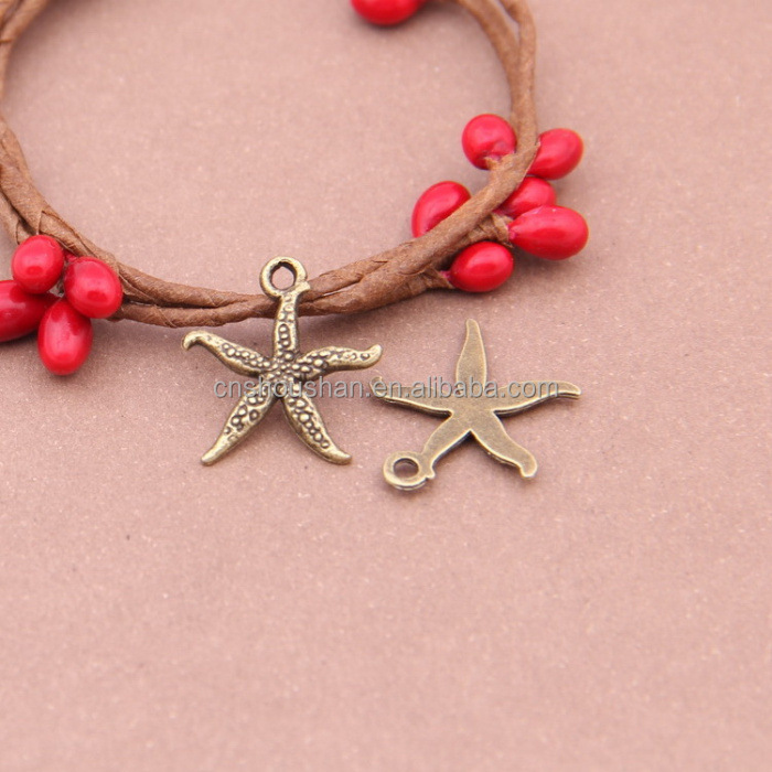 5000 styles Antique bronze starfish charm size 18mmx17mm