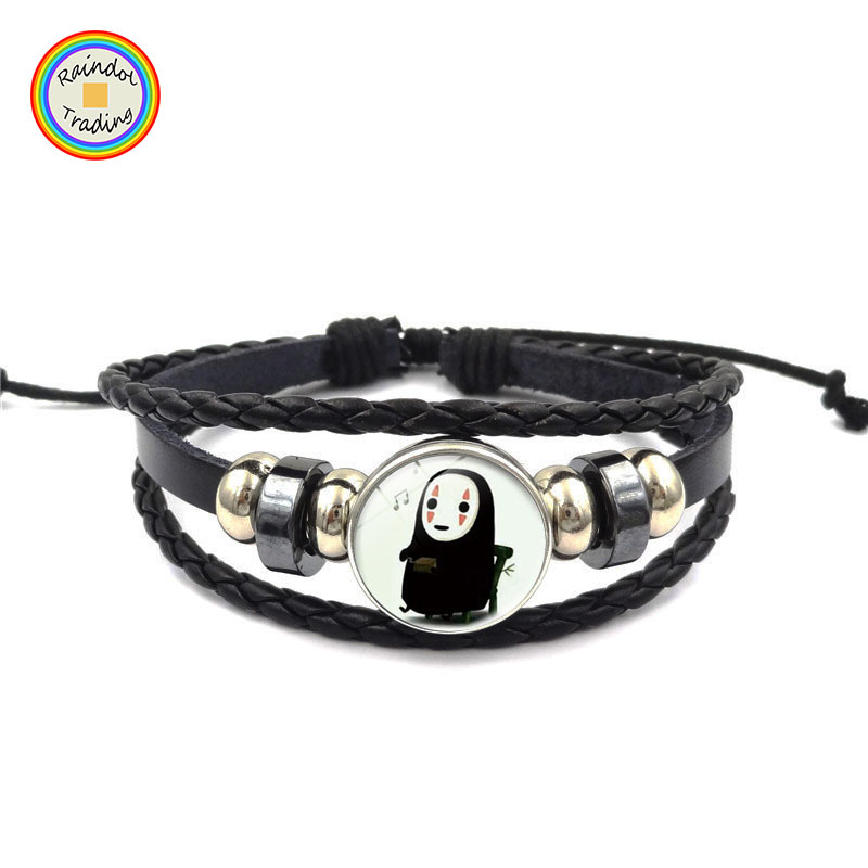 YWXS061 RDT Wunsch Amazon Hot Cartoon Filme Charakter Kein Gesicht Mann Zeit Jewel Perlen Armbänder 3 Layered Schwarz Leder Knit Bangle