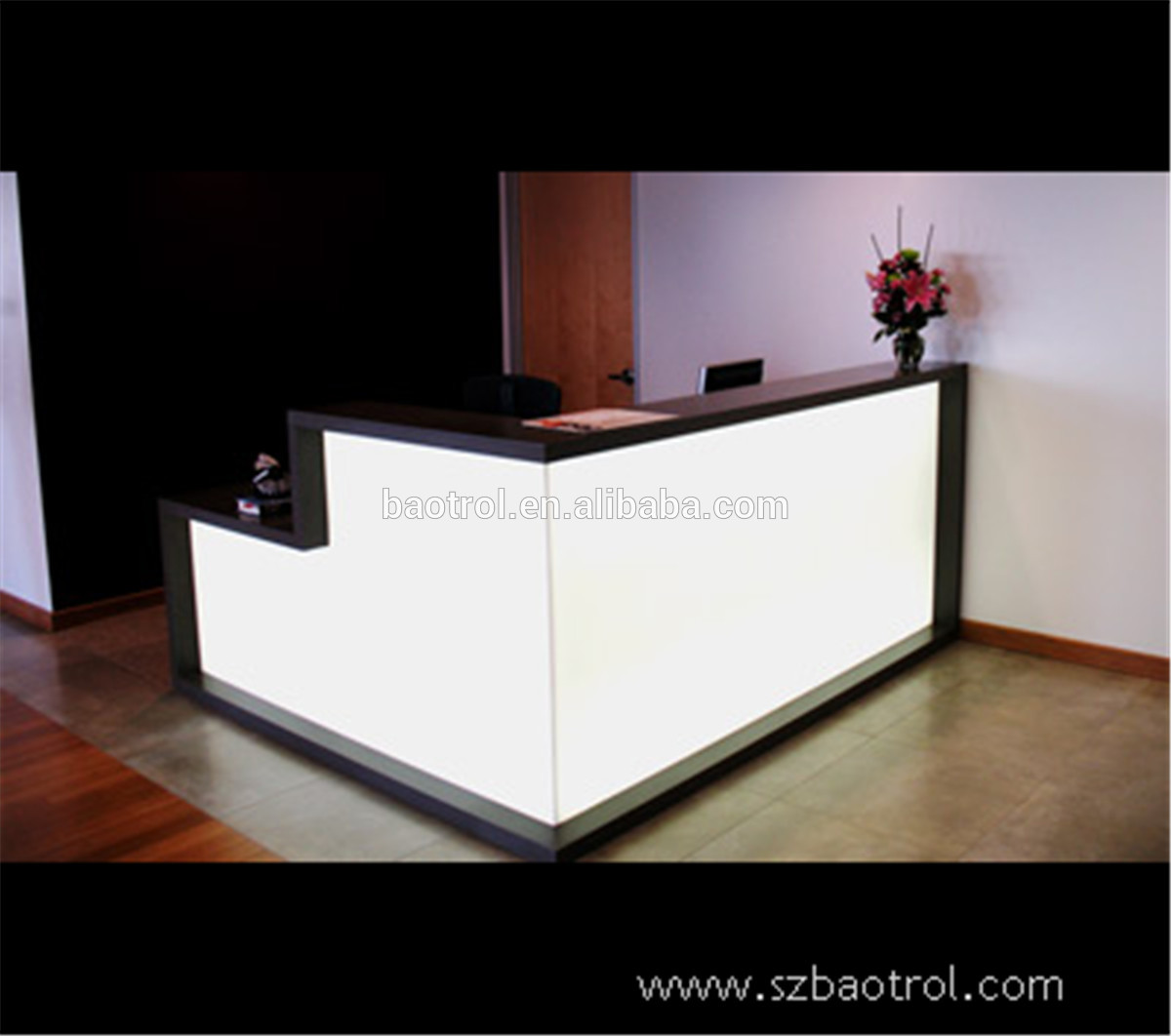 shelve salon reception toronto desk display with product furniture