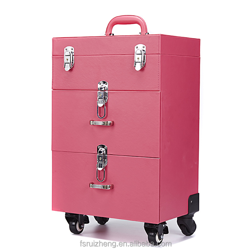 Trolley in pelle makeup case con ruote