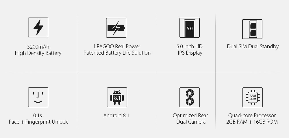 "LEAGOO POWER 2 Mobile Phone 5.0""HD IPS RAM 2GB ROM 16GB Android 8.1 MT6580A Quad Core Dual Camera Rear Fingerprint 3G Smartphone"