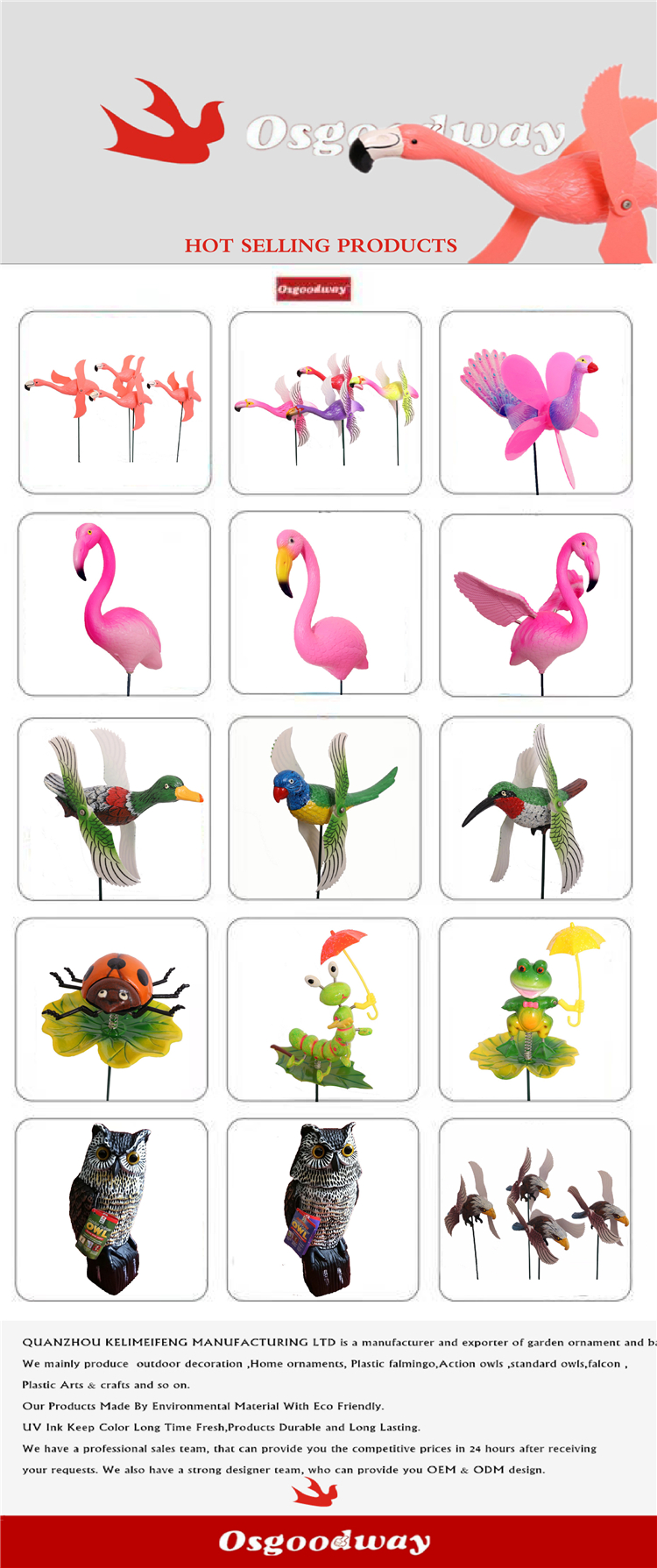Osgoodway Factory Price garden decoration Decor plastic ducks sticks Fun Windmill For Gardens, yards, meadows
