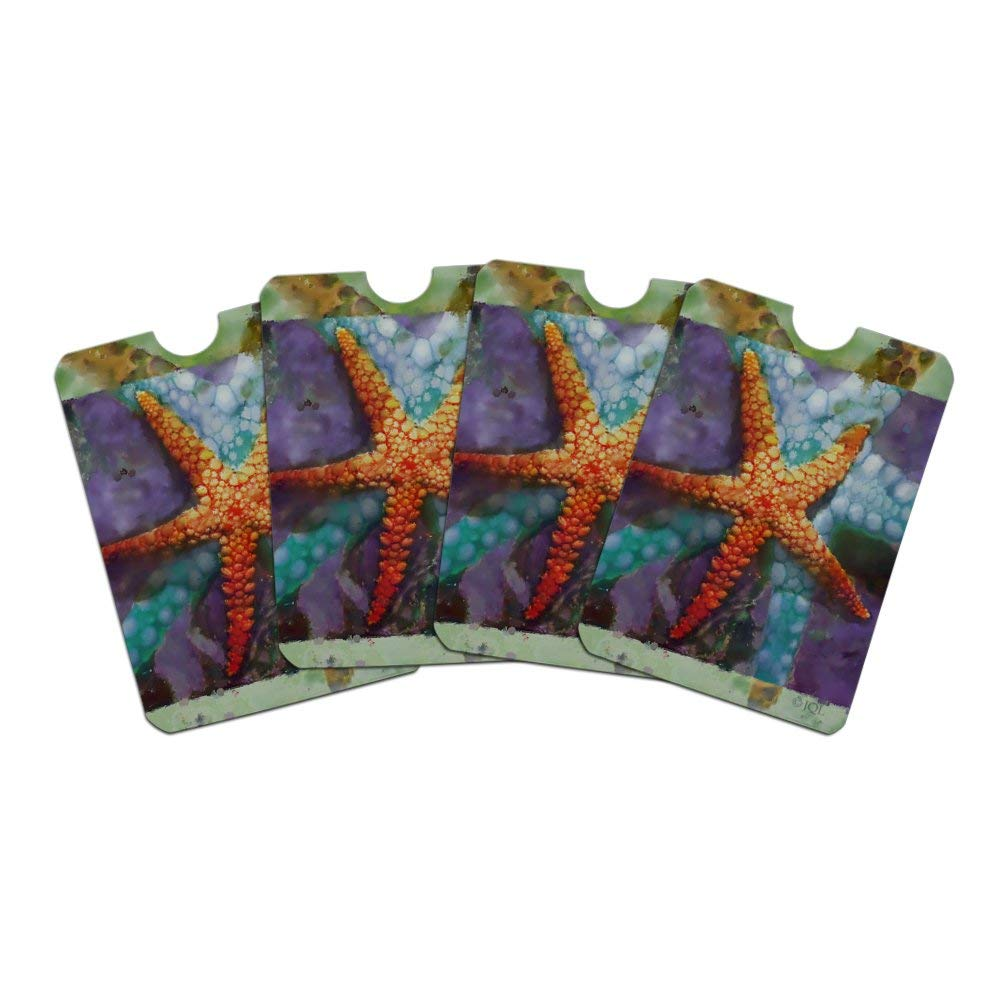 Starfish Watercolor Tropical Ocean Beach Credit Card RFID Blocker Holder Protector Wallet Purse Sleeves Set of 4