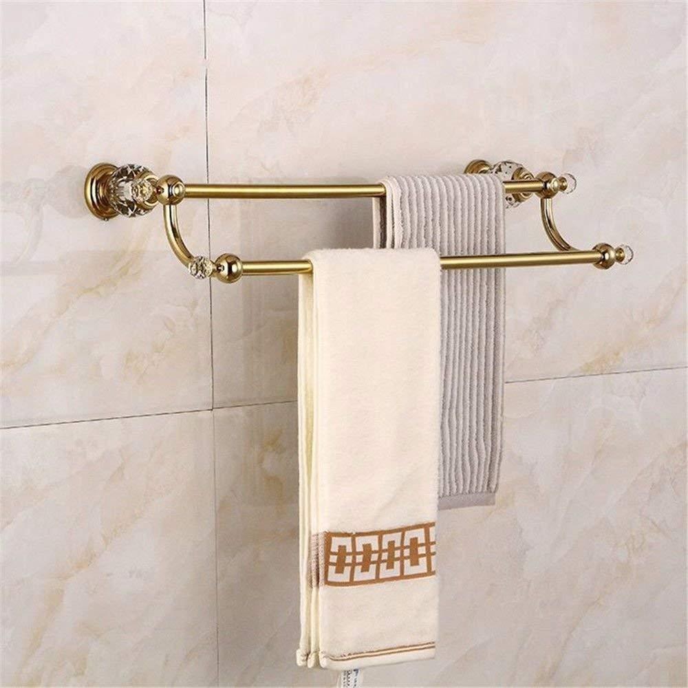GKRY@Towel Rail Bar-Wall Mounted Bathroom Kitchen Brass Towel Holder Towel Bar Vintage gold plated brass crystal wall mounted bathroom with double towel bar