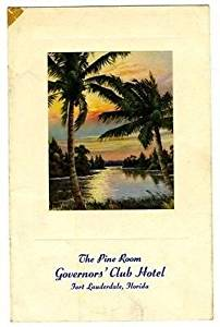 The Pine Room Menu Governors' Club Hotel Fort Lauderdale Florida 1940's