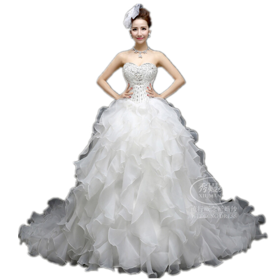 Get Quotations  C2 B7 Nobleness Shiny Bride Gown Sweetheart Collar Sexy Off Shoulder Bling Bling Ruffles Big Trailing Fashion Ball