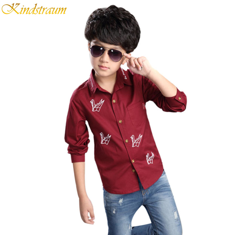 Kindstraum Teenage Boys Long Sleeve Shirts 2016 Spring Cotton Fashion Casual Print Handsome Shirt for Children