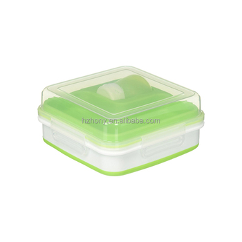Plastic Collapsible Salad Storage Kit Bento Lunch Box With Gel