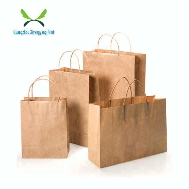 Custom Made Promotional Small Brown Kraft Paper Bags Printing Manufacture Whole