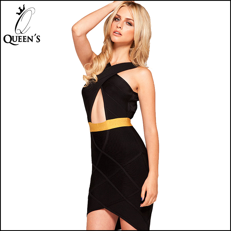 3e2d2eaf1837e Get Quotations · 2015 Free Shipping Party Dresses Yellow Belt Black Cris  Cross Midi Pencil Slimming Fitted Bandage Bodycon