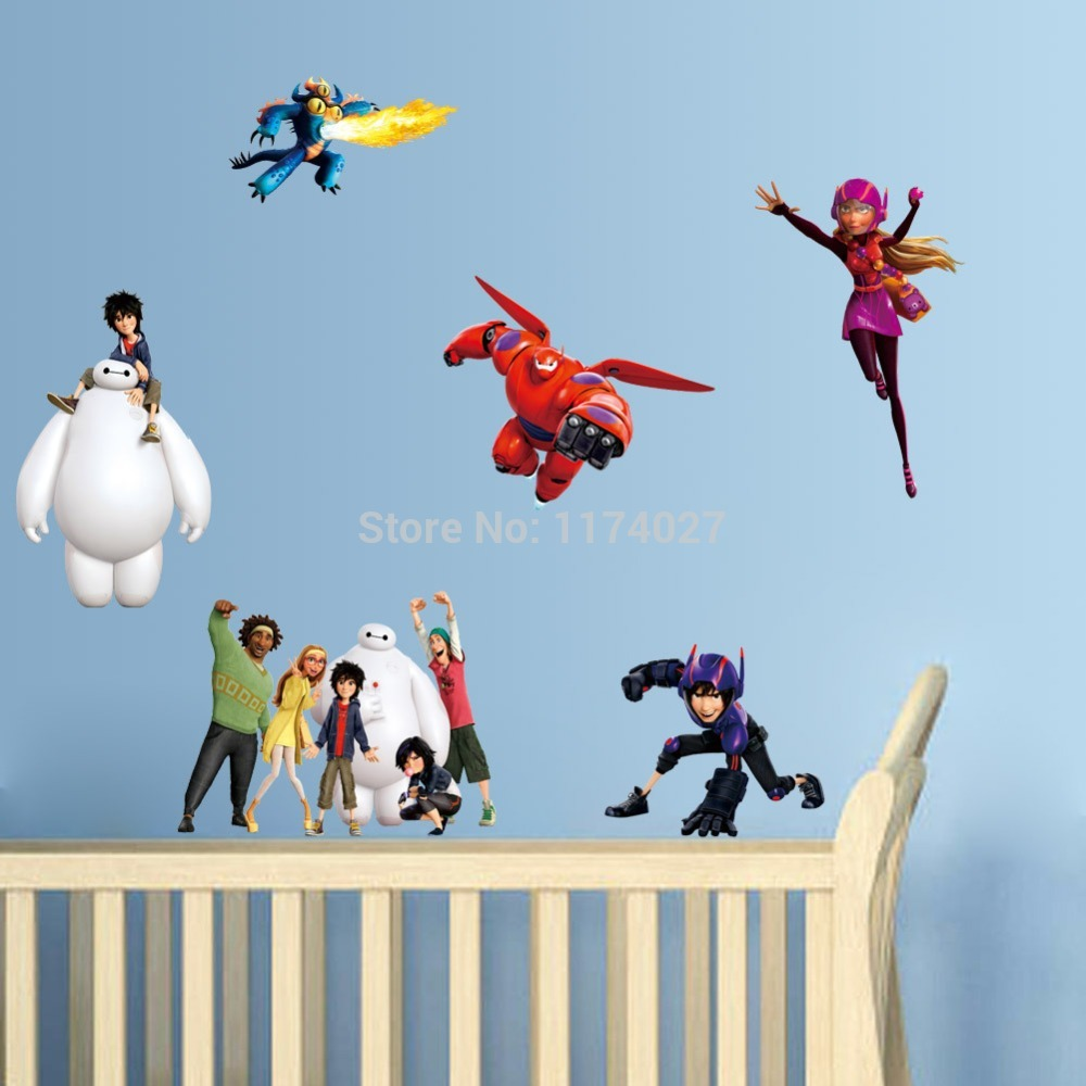 Free shipping Big Hero 6 Wall Sticker Baymax Wall Stickers  Home Decor Cartoon Removable Wall Decals  for Kids Rooms