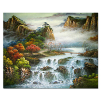 Custom Waterfall Landscape Mountain Art Peinture Ancient Traditional Canvas Chinese Oil Painting