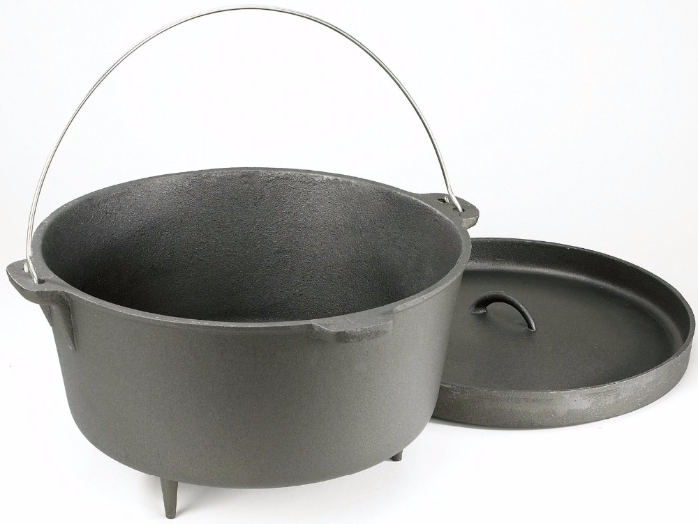 Eco Friendly Cast Iron Camping Cookware With Wooden Case